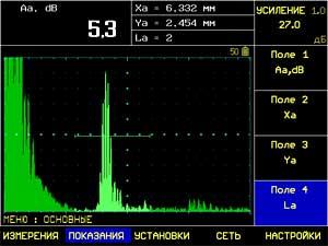 Отображение амплитуды сигнала, координат дефекта и номера луча