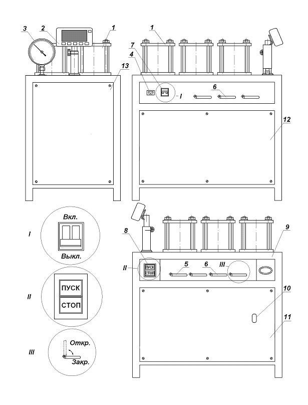 Схема установки для испытания бетона на водонепроницаемость
